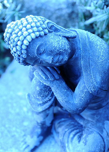 Icy statue of young Lord Buddha, considering, A Garden for the Buddha, Seattle, Washington, USA / wonderlane